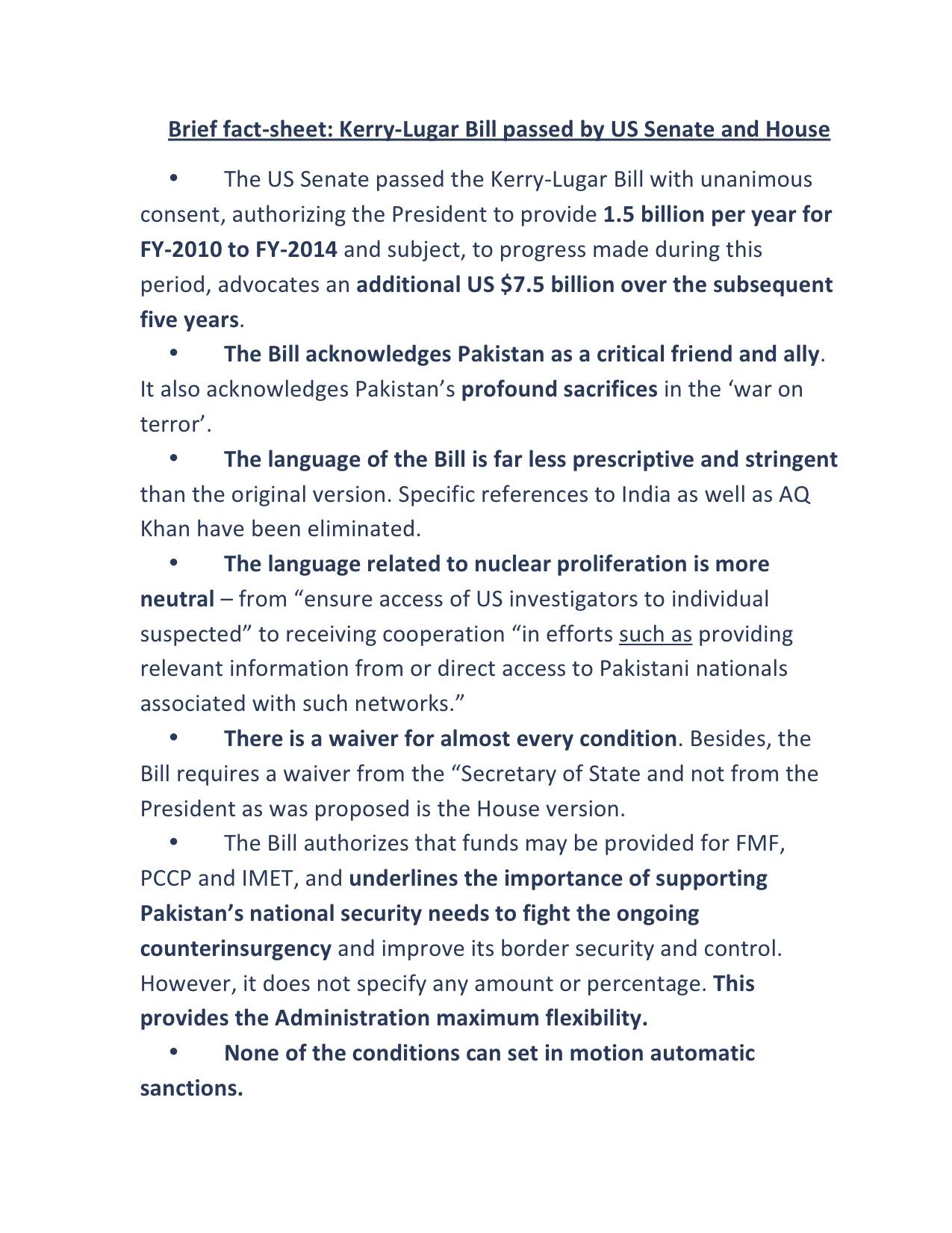 Kerry Lugar Bill factsheet