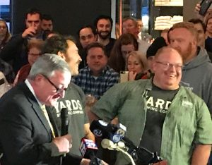 Mayor Kenney, Tom Kehoe Enjoying Opening Night with Yards Employees and Patrons