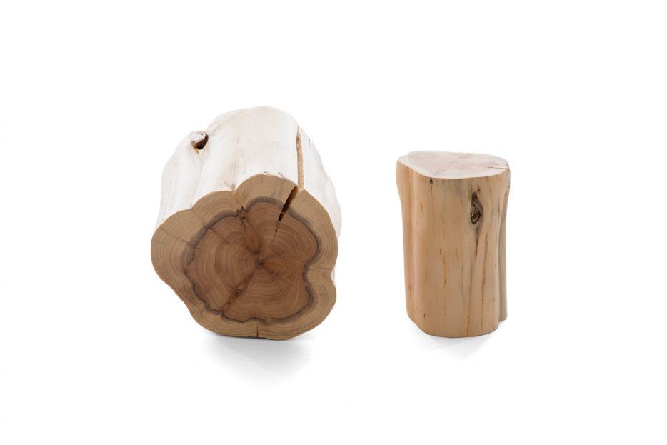 Urn boomstam hout set bovenkant