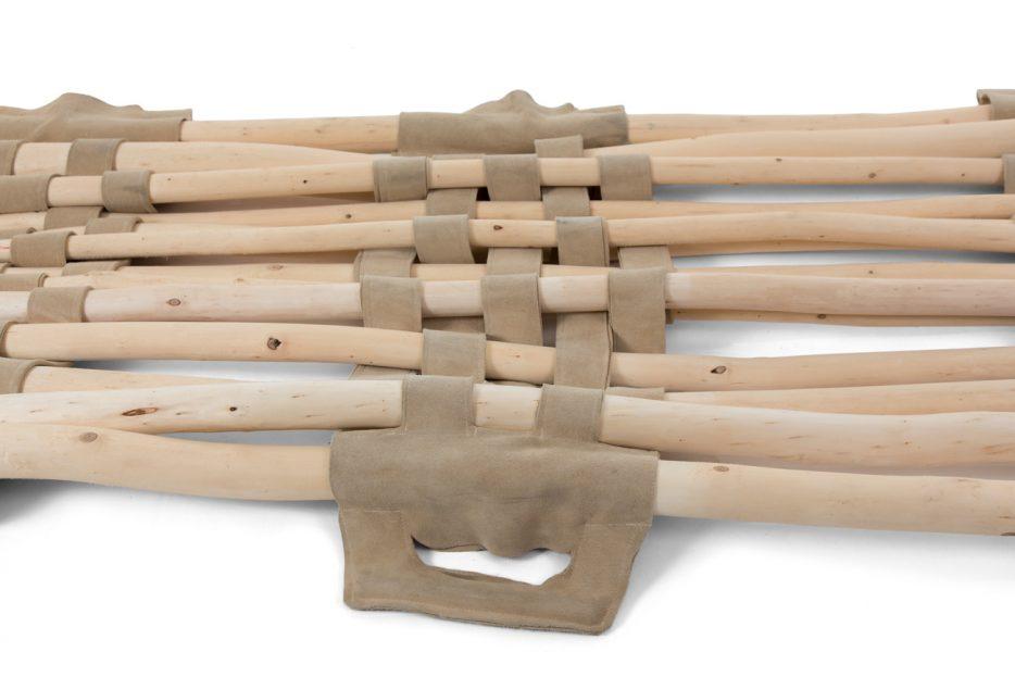 Draagbaar, hout, baar, Opbaarplank Wilgen takkenbaar Beerenberg close up