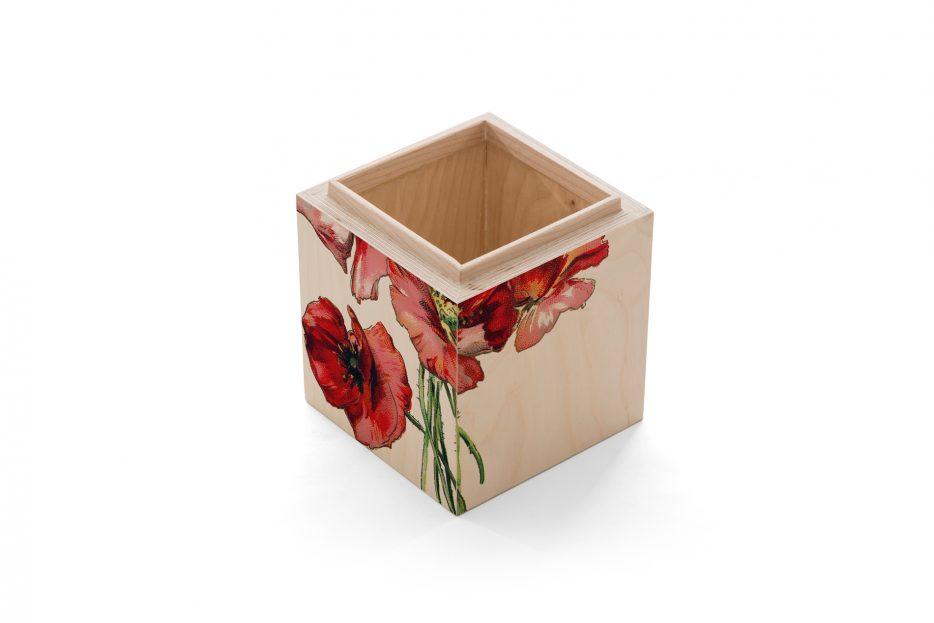 urn kistje hout as, rechthoek, bloem, klaproos, Beerenberg, urnkistje, urnen