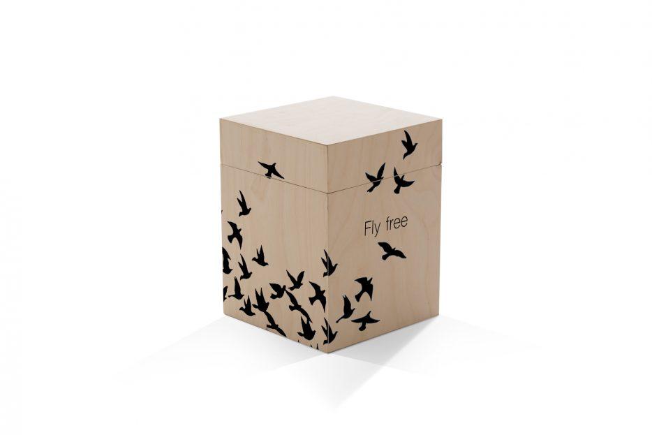 urn kistje hout as, rechthoek, vogels, vliegen, zwart, illustratie, Beerenberg, urnkistje, urnen