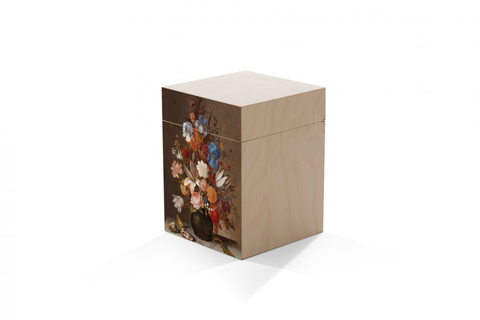 urn kistje hout as bloemen, rechthoek, Beerenberg