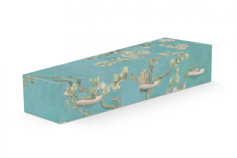 Uitvaartkist amandelbloesem van Gogh Beerenberg, bijzondere grafkist, persoonlijk afscheid