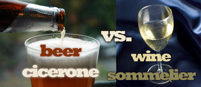Banner for beer cicerone vs. wine sommelier.