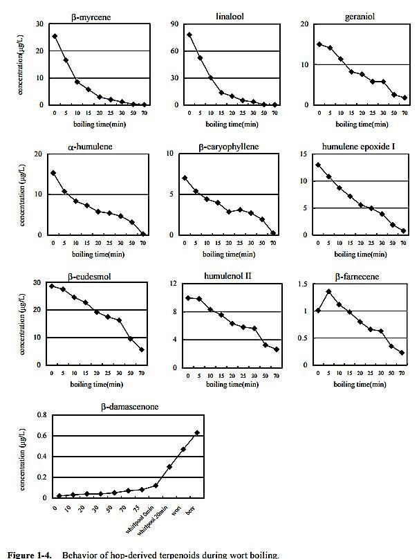 behavior of hop derived terpenoids during wort boil