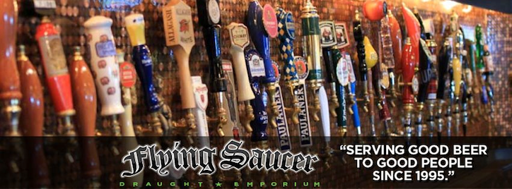 Flying Saucer Draught Emporium Banner with Slogan