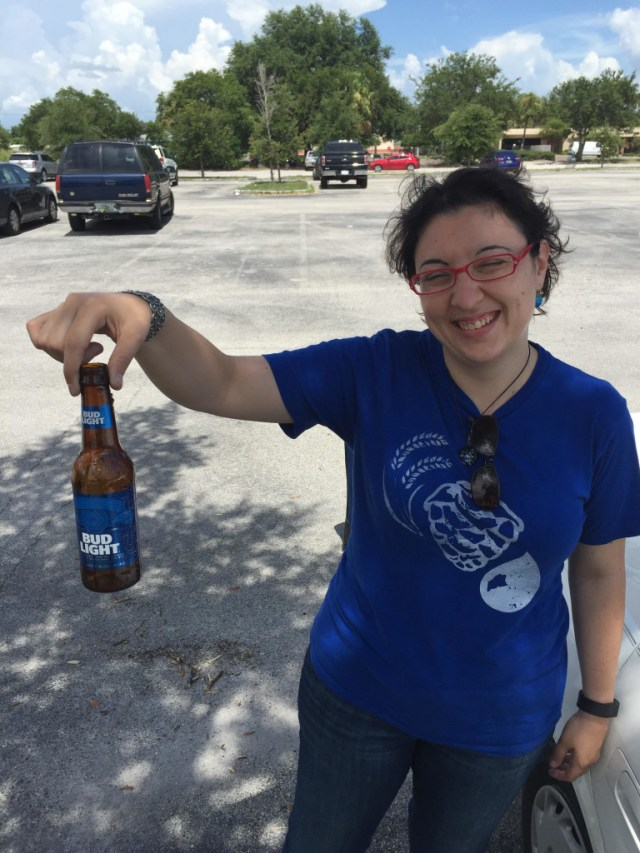 Post conference, Carla Jean Lauter, aka The Beer Babe, slams down one of her favorites after a brewery visit. (Photo by Gerard Walen, who is just kidding)