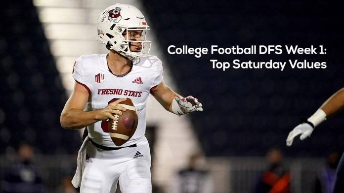 College Football DFS Week 1- Top Saturday Values