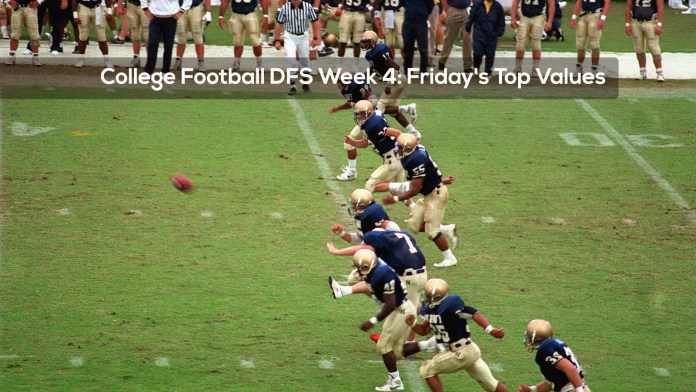 College Football DFS Week 4: Friday's Top Values