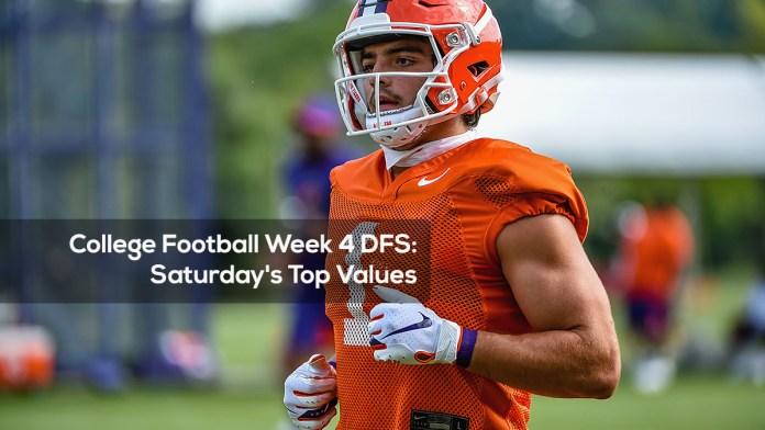 College Football Week 4 DFS- Saturday's Top Values