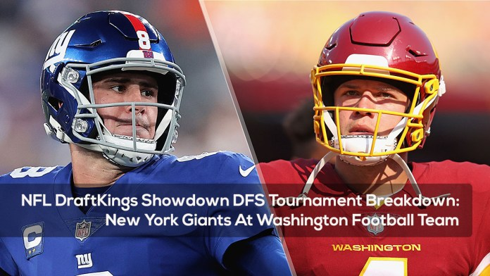NFL DraftKings Showdown DFS Tournament Breakdown- New York Giants At Washington Football Team