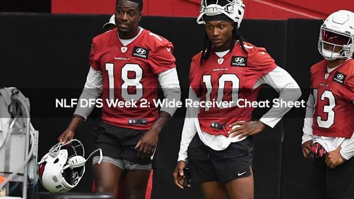 NLF DFS Week 2- Wide Receiver Cheat Sheet