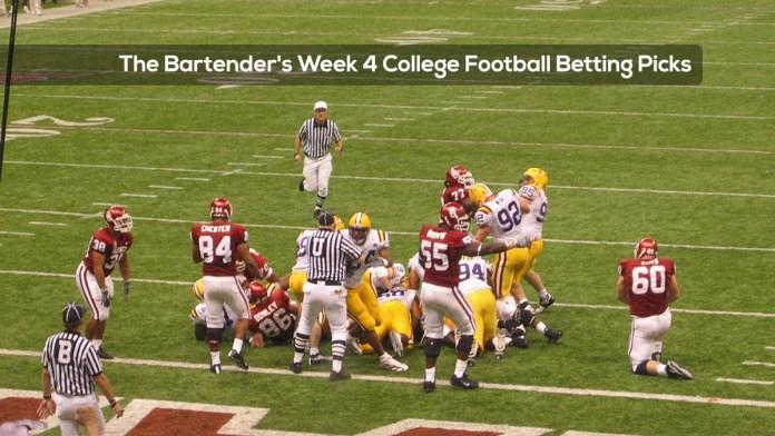The Bartender's Week 4 College Football Betting Picks