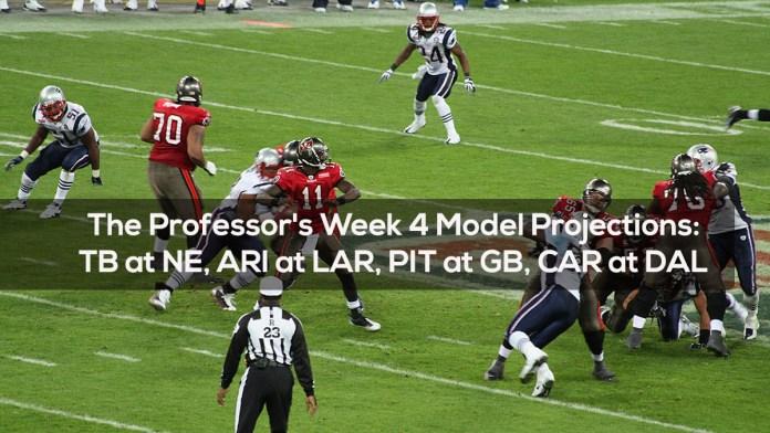 The Professor's Week 4 Model Projections- TB at NE, ARI at LAR, PIT at GB, CAR at DAL
