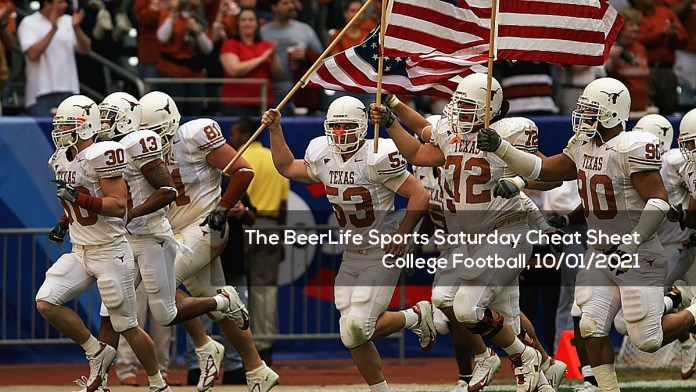 The BeerLife Sports Saturday Cheat Sheet, College Football- 10:01:2021