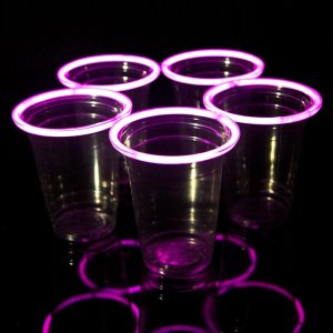 Pink Glowing Beer Pong Cups