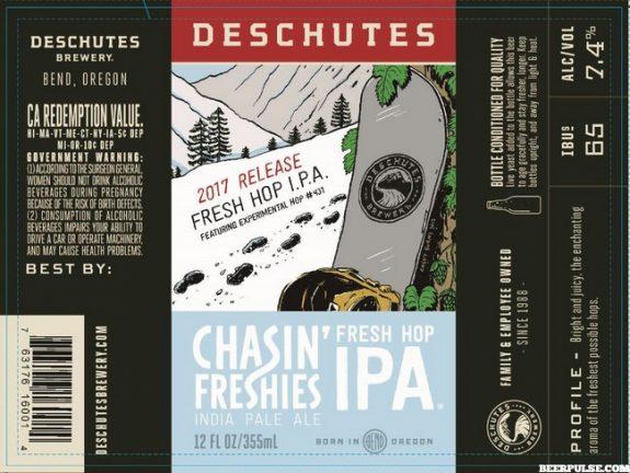 Deschutes Chasin Freshies Fresh Hop IPA beer label 2017