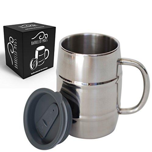 Stainless-Steel-Beer-Mug-w-Bonus-Lid-17oz-Dual-Wall-Air-Insulated-Beer-Beverage-Mug-Coffee-Cup-Keep-Your-Beer-Colder-Coffee-Hotter-Longer-A-Mans-Mug-0