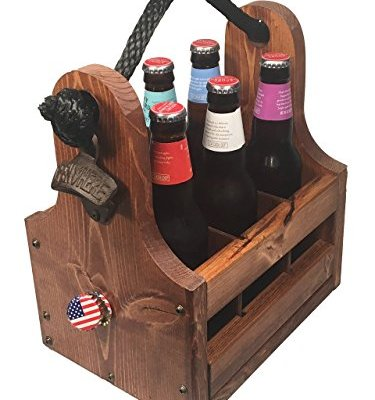 Wood-Beer-Caddy-with-Bottle-Opener-Magnetic-Cap-Catch-6-Pack-with-Removable-Dividers-Personalizable-Gifts-for-Groomsmen-Craft-Beer-Fans-Brewers-and-more-0