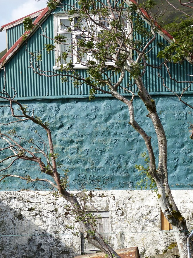 Faroe Islands Kunoy Färöer Inseln Hausfassade