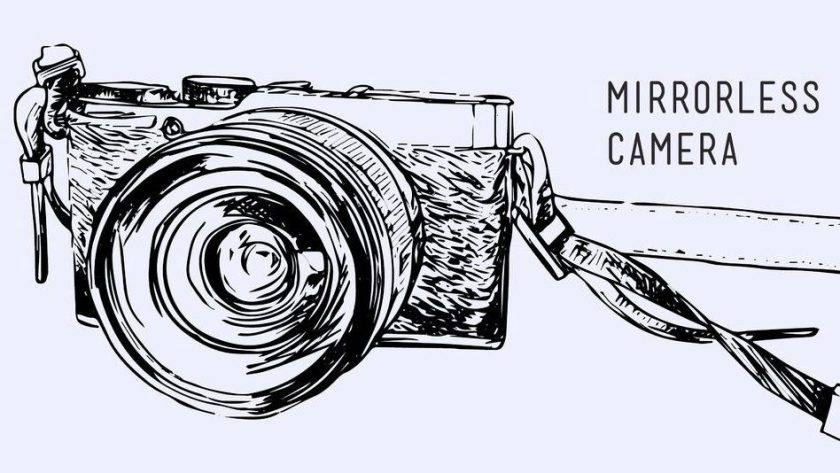 74124861 - camera vector. vintage and classic style, mirrorless type, hand drawn sketch design for business , minimal