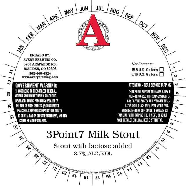 Avery 3Point7 Milk Stout