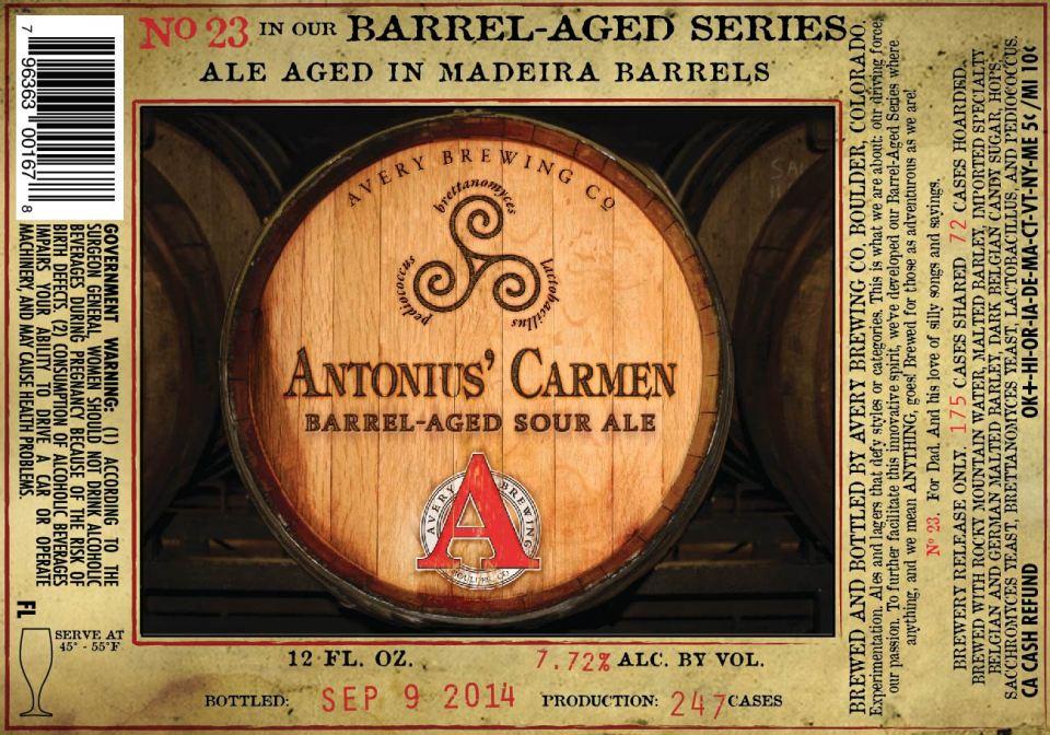 Avery Brewing Antonius' Carmen
