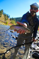 Fly fishing in the Galatin River, near Big Sky