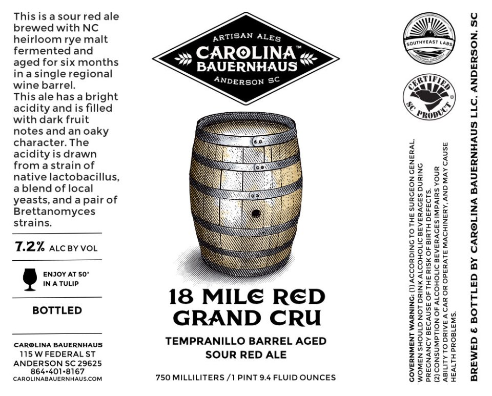 Carolina Bauernhaus 18 Mile Red Grand Cru