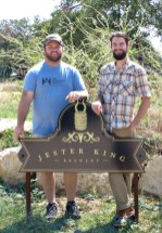 Chase Healey and Garrett Crowell at Jester King Brewery for the collaboration brew in August of 2014