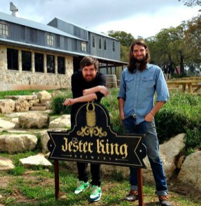 Jeppe and Jester King Head Brewer Garrett Crowell at Jester King on the brew day