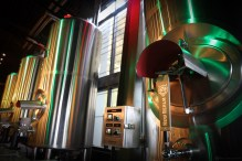 The brewhouse can brew directly into serving tanks in the restaurant bar/taproom.