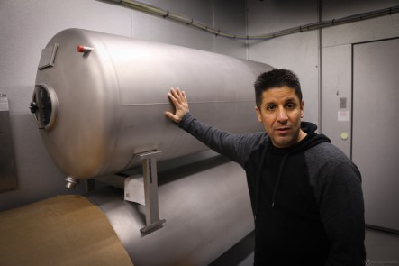 "Falcone shows off his horizontal ""bladder"" serving tanks. Each tank has an internal liner that can be removed."