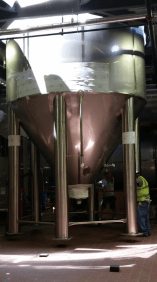 Securing the bottom of the tanks inside the brewery