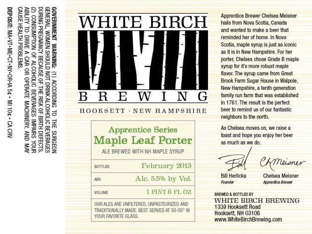 White Birch Apprentice Maple Leaf Porter