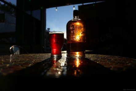 Beer & bourbon as the sun sets