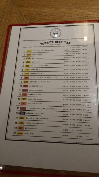 Craft Beer Kitchen Jiyugaoka Menu