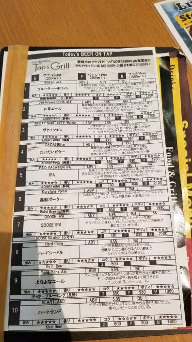 Aoi Brewing and Grill Beer 1・アオイ ブリューイング タップアンドグリルビール1