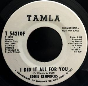 """Eddie Kendricks / I Did It All For You (7"""")"""
