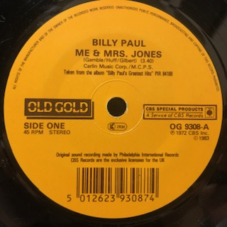 "Billy Paul / Me & Mrs. Jones b/w Let's Make A Baby (7"")"