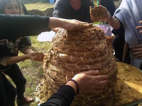 Preparando las colmenas de paja para la lluvia