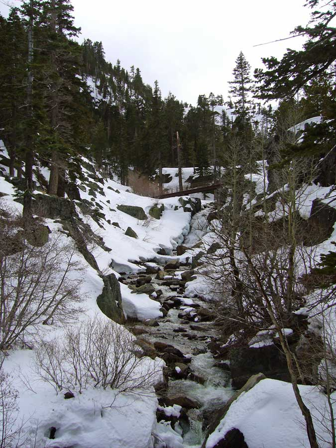 Upper Eagle Falls from Eagle Lake - part of a ''glacial staircase'' above Emerald Bay