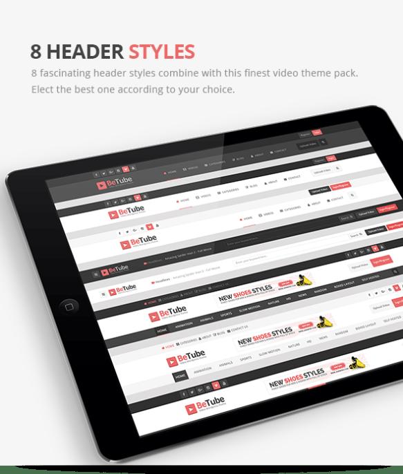 betube video WordPress Theme header styles