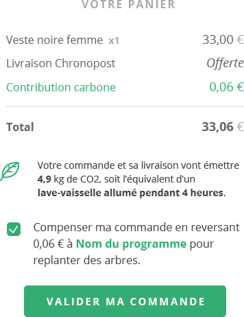 Paygreen propose aussi de calculer l'empreinte carbone