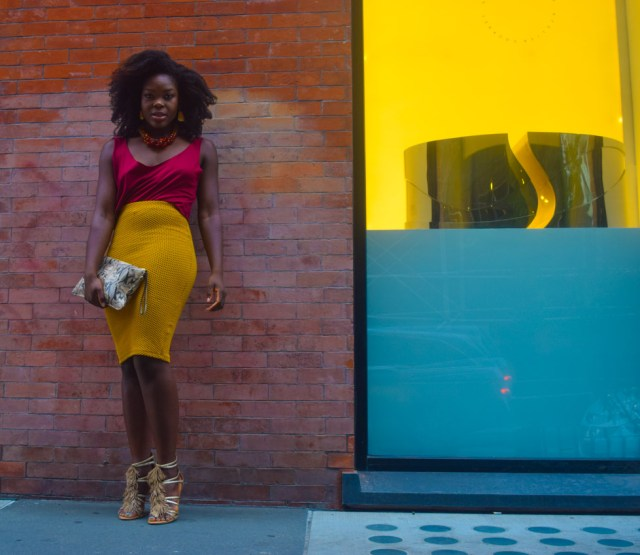 Night Out | Yellow With Burgundy