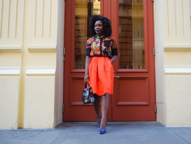 Befitting Style Red Full Skirt Color Block Top 17
