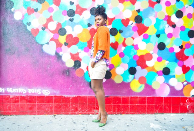 Befitting Style Oyinkan Wearing Brights Button Down w- khaki shorts