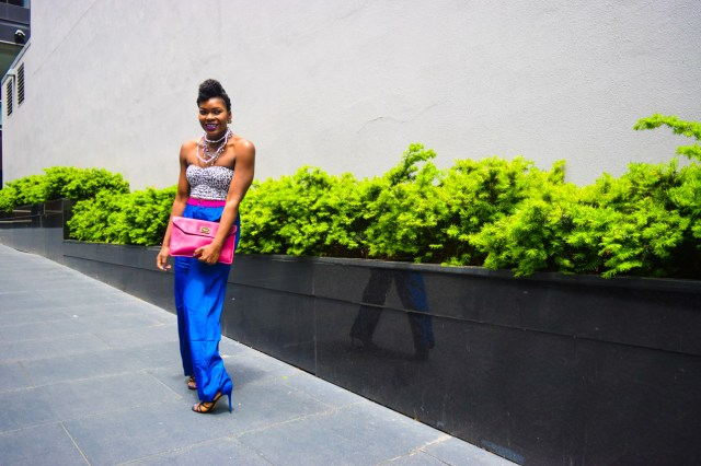 Befitting Style Oyinkan Wearing Cobalt Blue Full Leg Pants 12