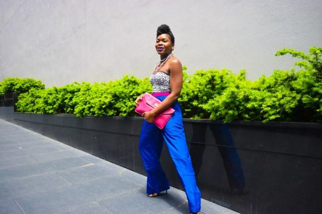 Befitting Style Oyinkan Wearing Cobalt Blue Full Leg Pants 14